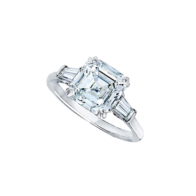 Wempe Asscher cut diamond ring with tapered baguettes