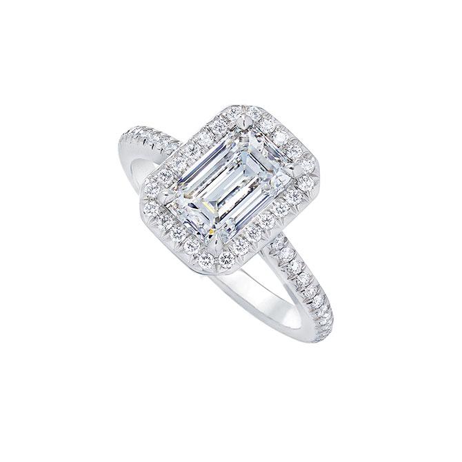 Wempe emerald cut diamond halo engagement ring