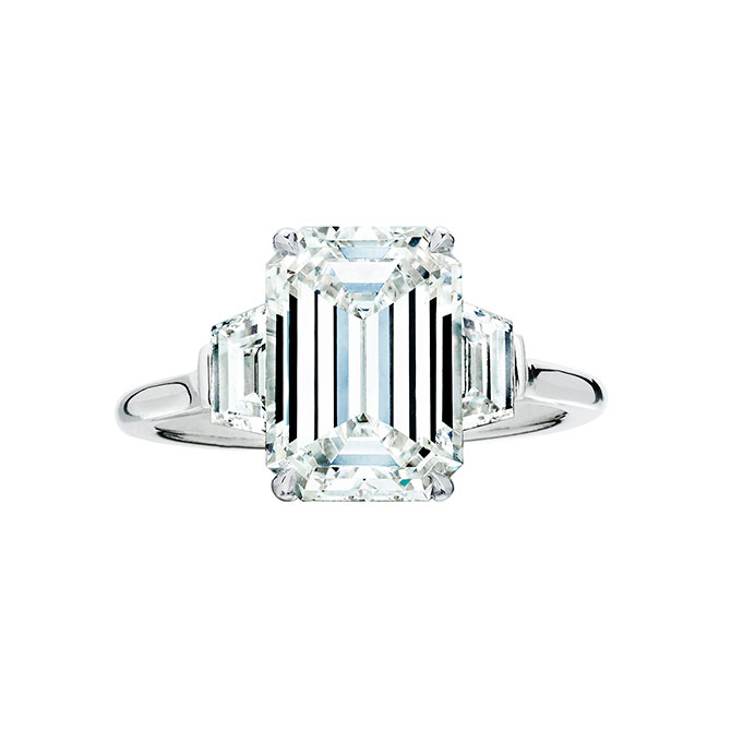 Wempe emerald cut three stone engagement ring