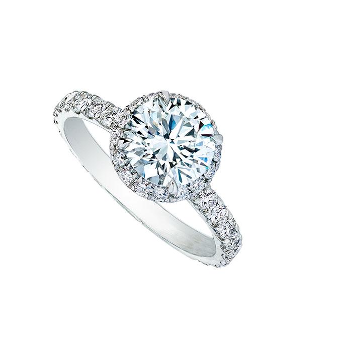 Wempe round diamond halo engagement ring