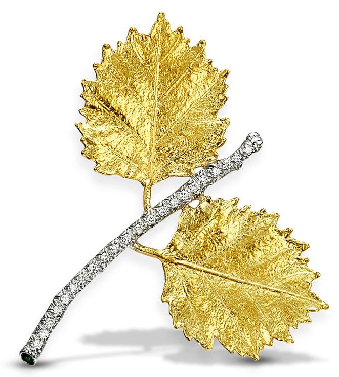 aaron henry leaf brooch