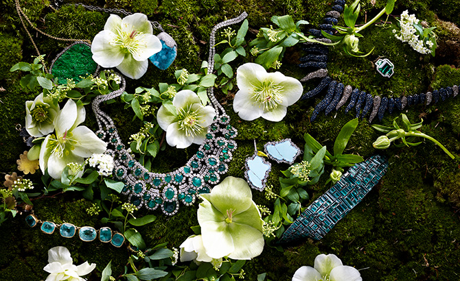 blue green gems with flowers