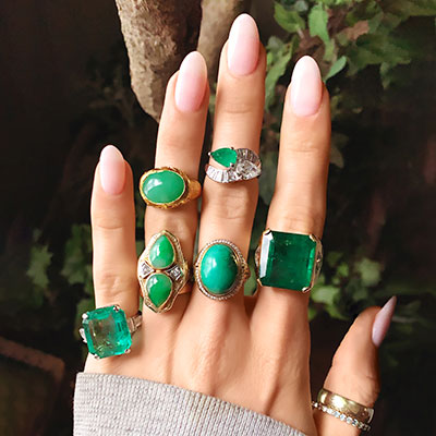 moonstoned green rings