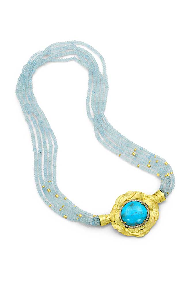Alishan turquoise diamond aquamarine necklace