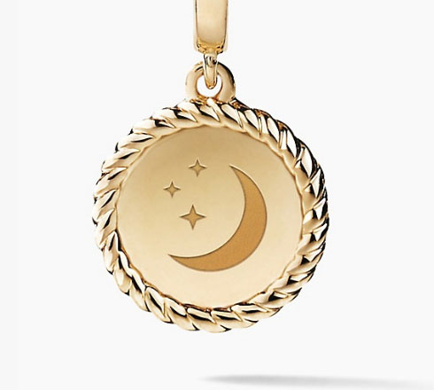 David Yurman moon engraved pendant