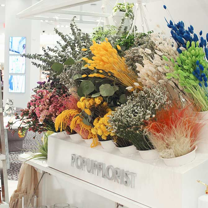 Dried florals at Popup Florist Neiman Marcus