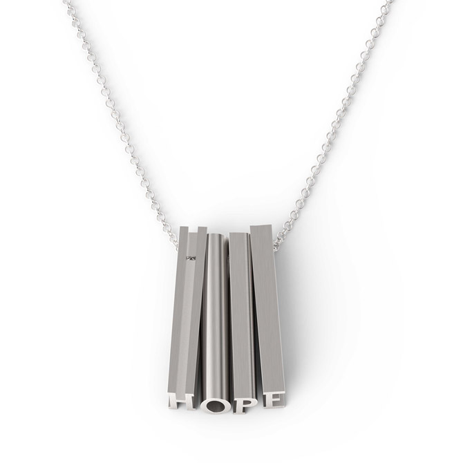 Mathematics silver Hope necklace