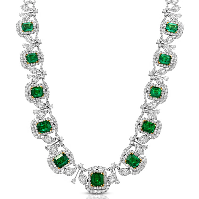 Ounce Collection emerald and diamond necklace
