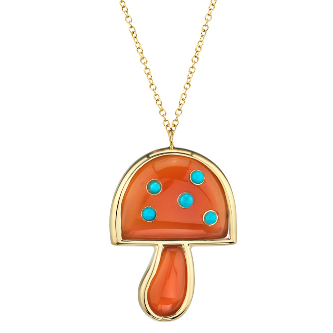 Brent Neale carnelian and turquoise mushroom pendant