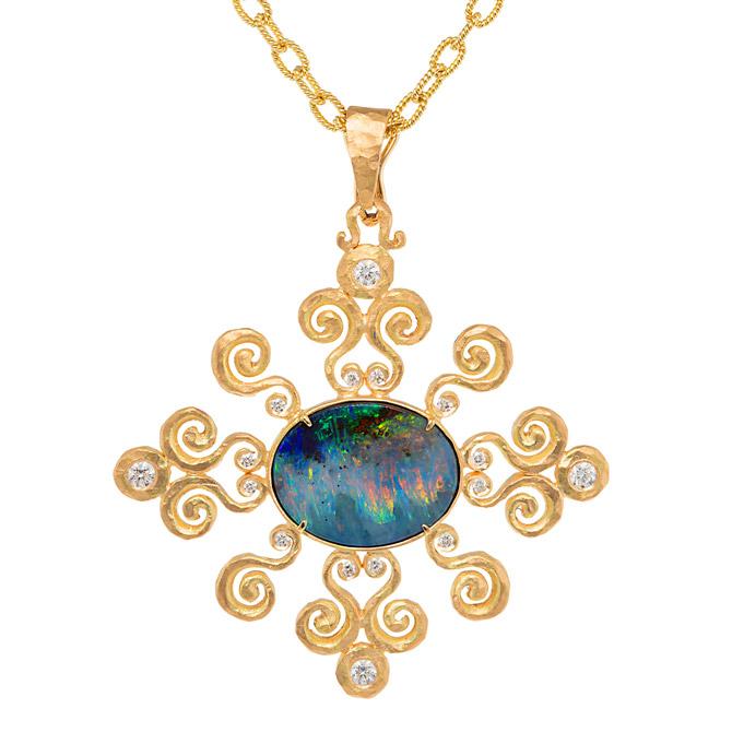 Pamela Froman Arabesque Sunburst opal pendant