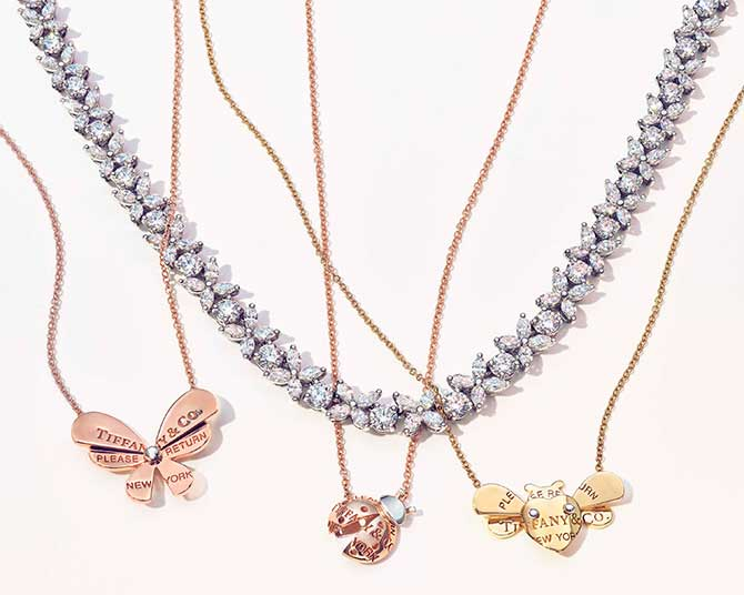 Return to Tiffany Love Bugs pendants with diamond necklace