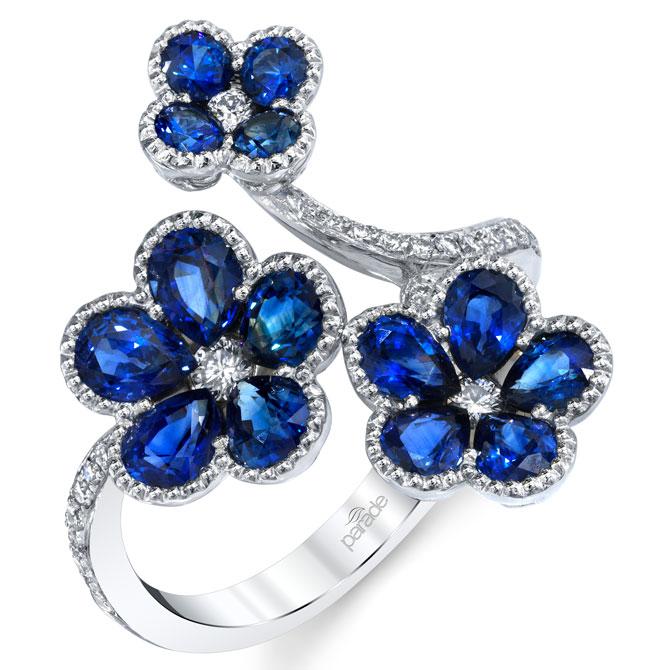 Parade Design blue sapphire flower ring