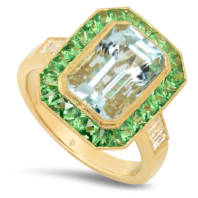 Beverley K aquamarine and tsavorite ring
