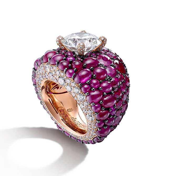 de Grisogono cabochon ruby diamond ring