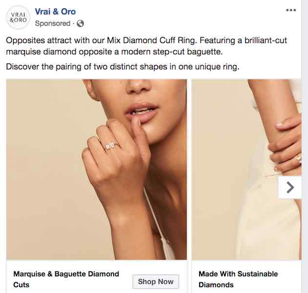 Vrai and Oro Facebook ad