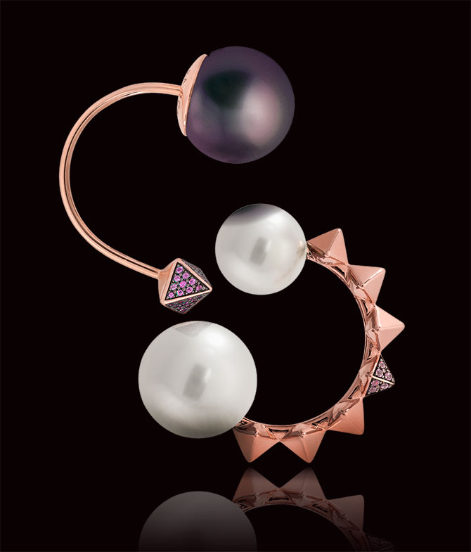 Alessandra Dona rose gold mono pearl earrings