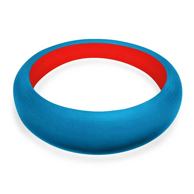 Alexis Bittar blue and red Lucite bangle
