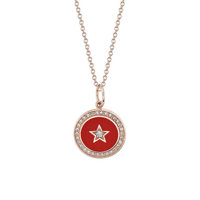 Andrea Fohrman new moon red enamel pendant