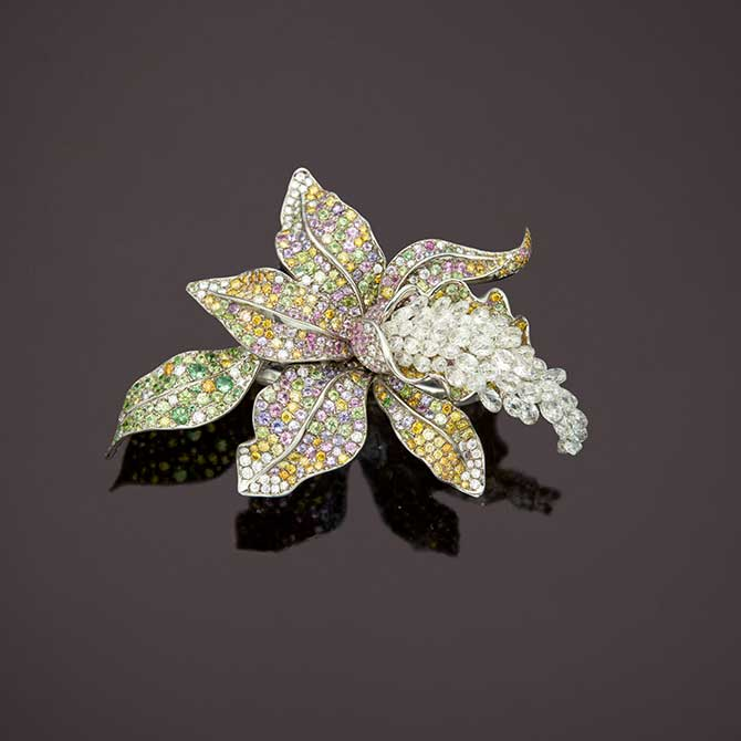 Anna Hu orchid ring brooch cuff