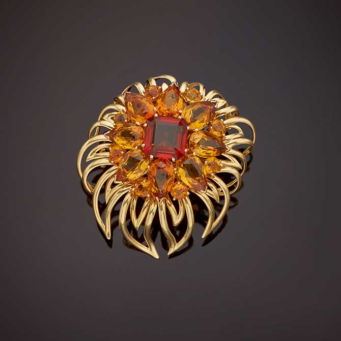 Cartier gold and citrine clip brooch