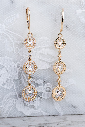 Charles and Colvard duet rose earrings