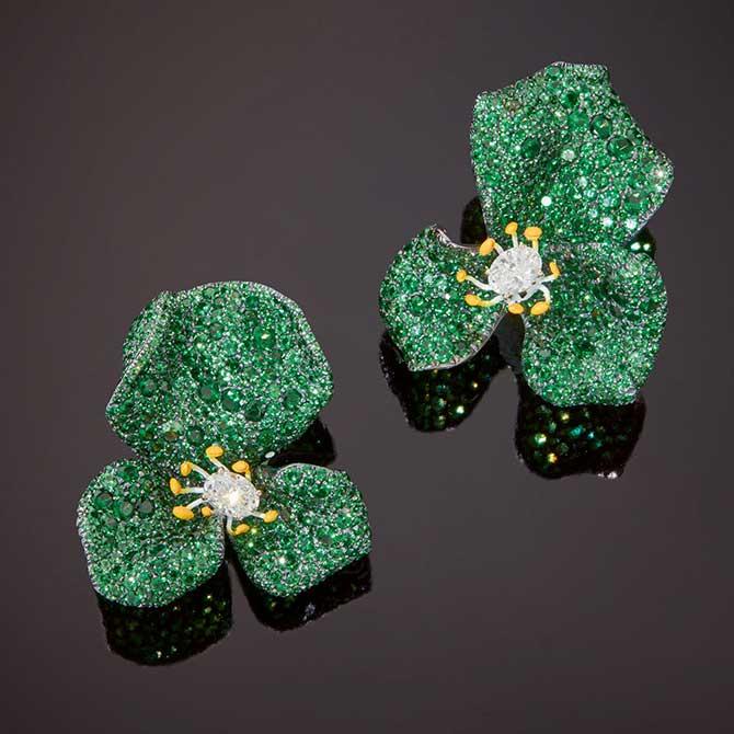 Cindy Chao tsavorite Rose earrings
