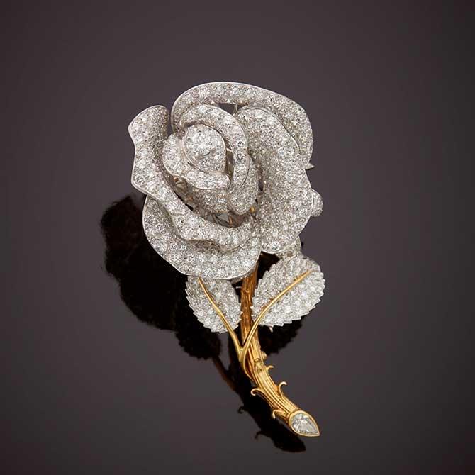 David Webb diamond rose brooch