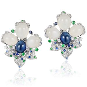 Andreoli cabochon flower earrings