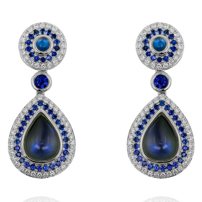 Yael moonstone and sapphire earrings