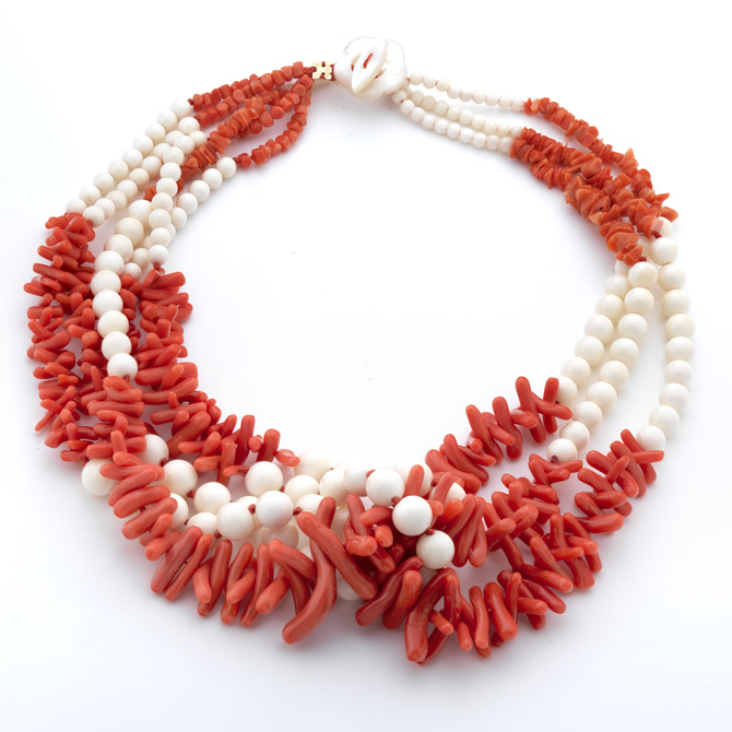 Rajola Link coral and bone necklace