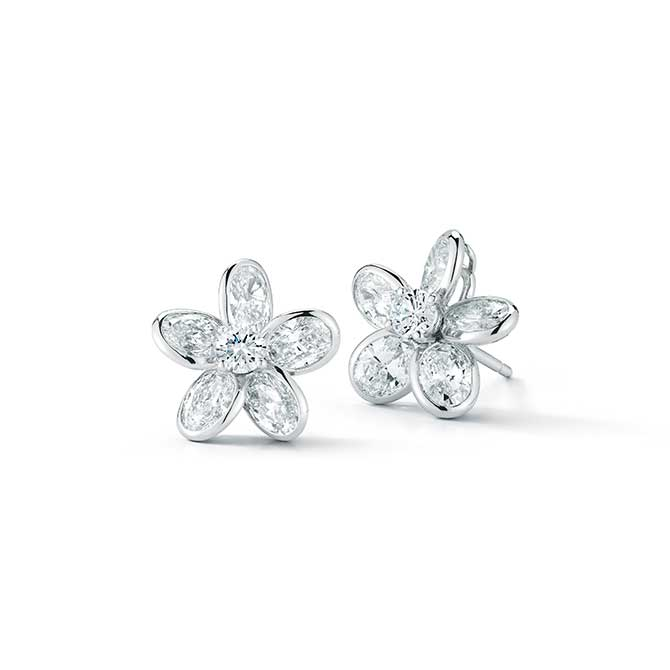 Oscar Heyman flower diamond stud earrings