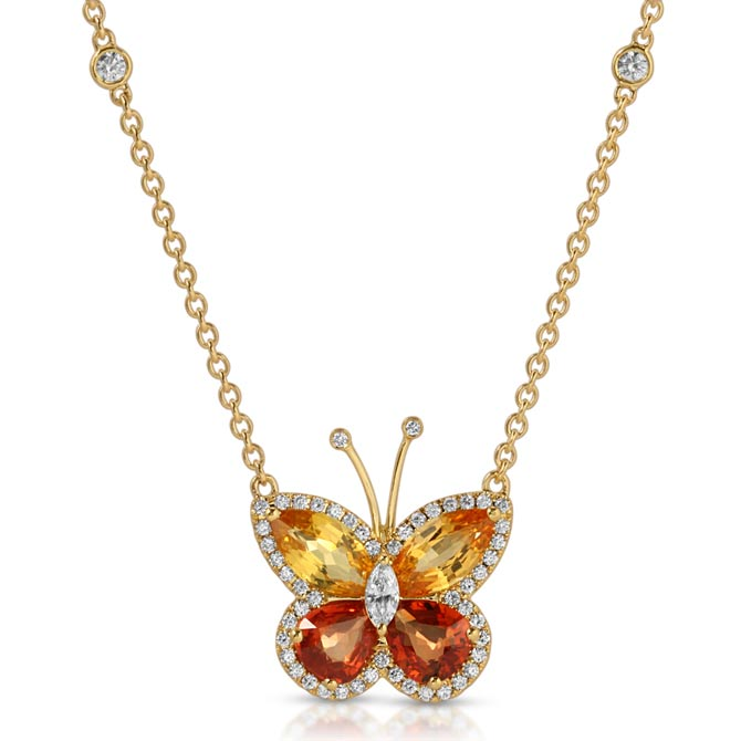 Alex A orange diamond butterfly pendant