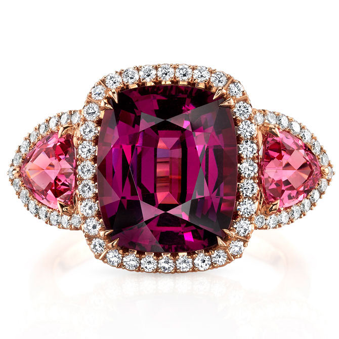 Omi Prive garnet and pink spinel ring