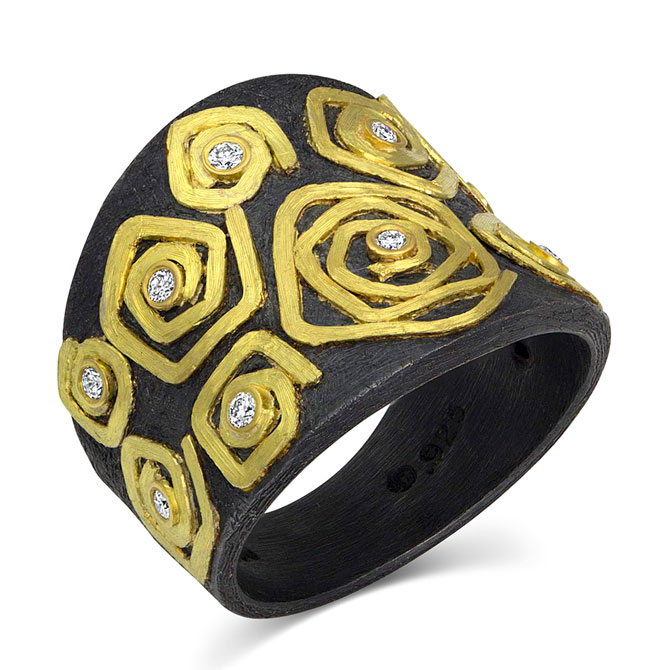 Alishan two-tone spiral ring