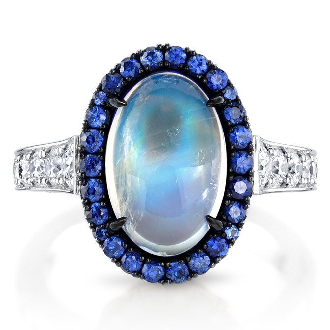 Omi Prive moonstone and sapphire ring