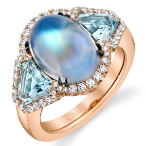 Omi Prive moonstone and aquamarine ring