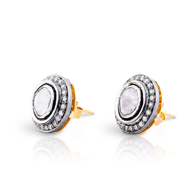 Sanjay Kasliwal rose cut diamond studs