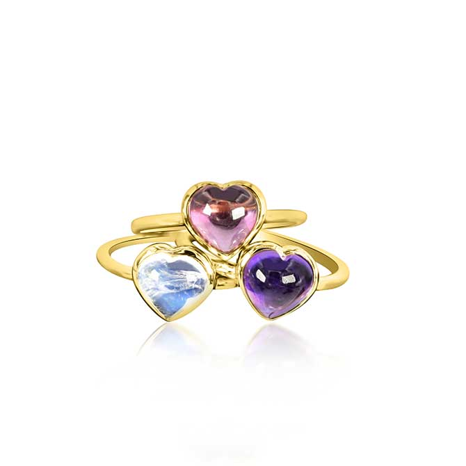Theresa Kaz Carved Heart stacking rings