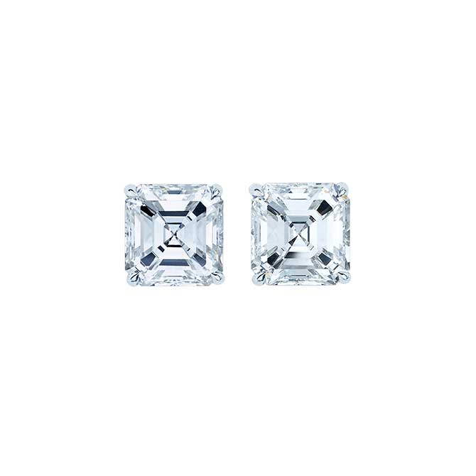 Wempe Asscher cut diamond studs