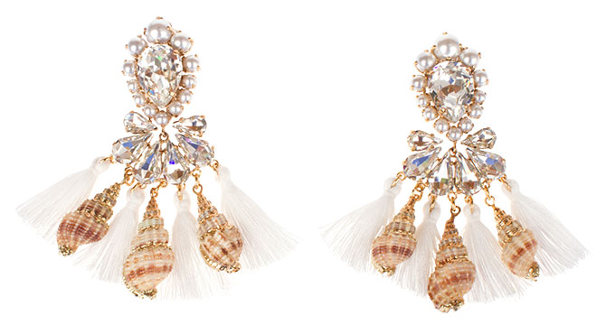 bijoux de familie tassel shell earrings