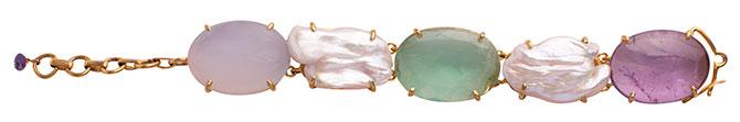 bounkit amethyst flourite pearl bracelet
