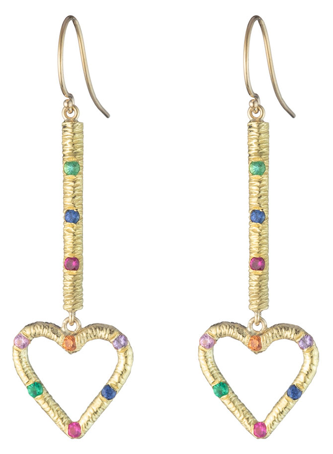 brent neale heart gemstone earrings
