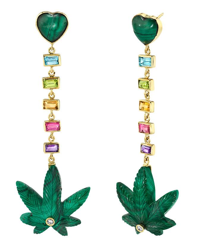 brent neale heart rainbow cannabis earrings
