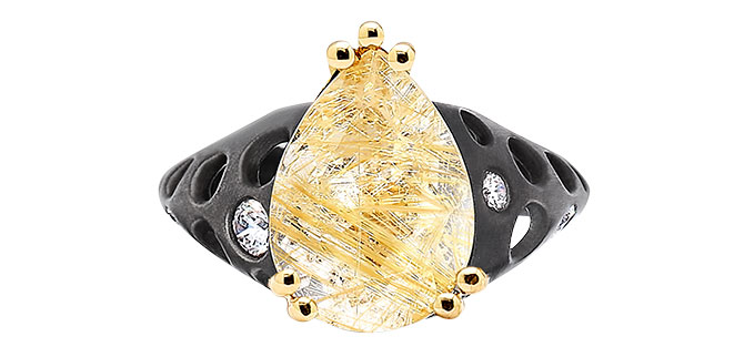 dana bronfman rutilated quartz black goldie ring