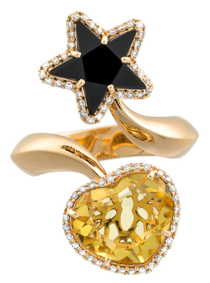 daniella kronfle citrine heart onyx star ring