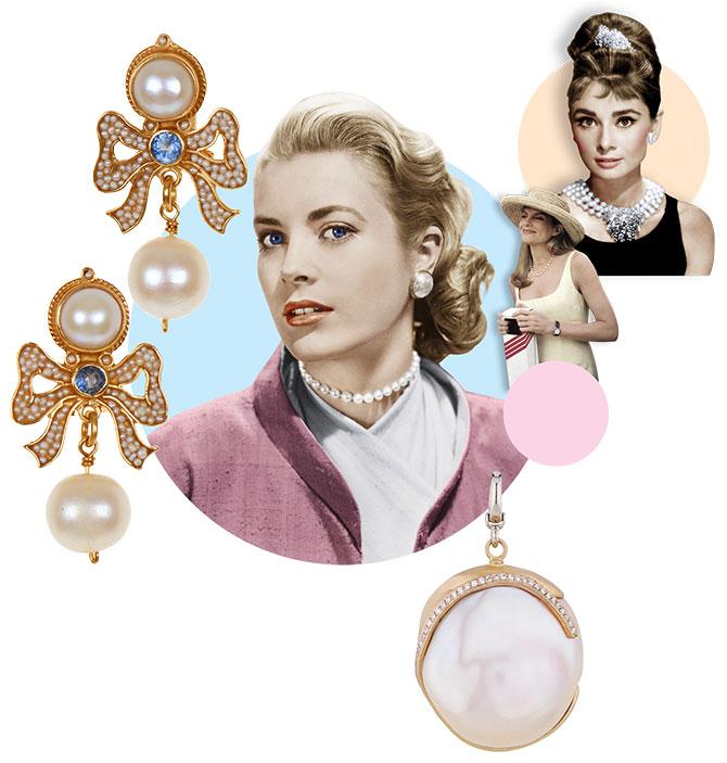 grace kelly audrey hepburn pearls