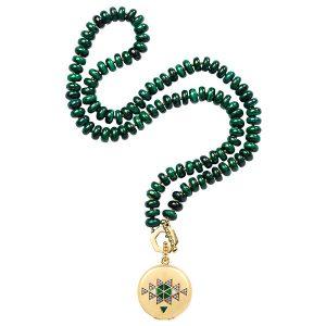 harwell godfrey malachite necklace with CBD balm locket