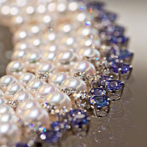 mikimoto tanzanite akoya pearl lace necklace