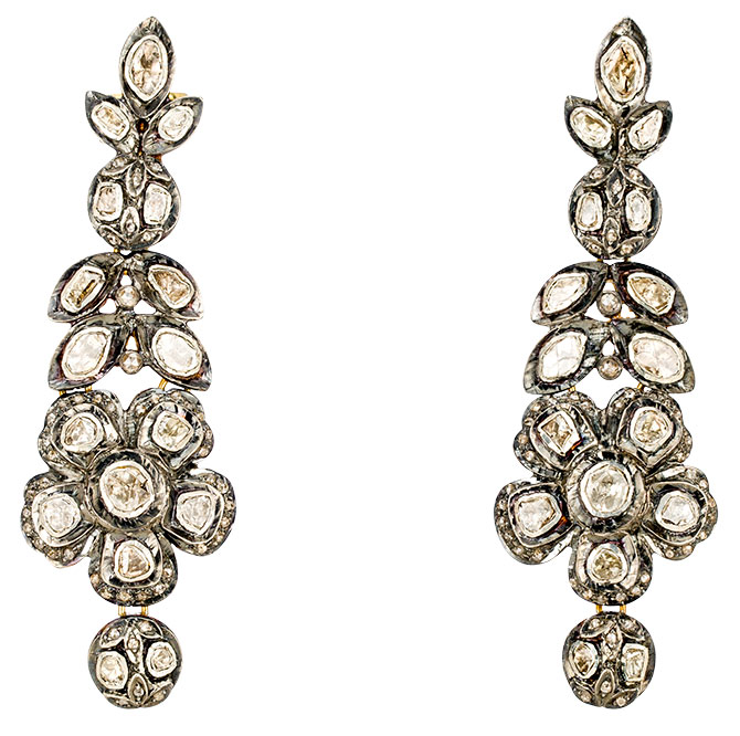 modern moghul rose cut diamond earrings