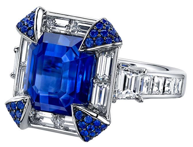 omi prive emerald cut sapphire ring